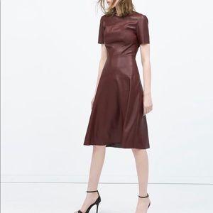Maroon Leather Effect Dress from Zara